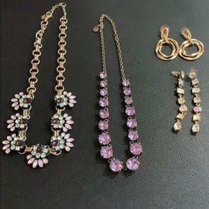 Like New Lot 2 Purple Necklaces +Free Earrings